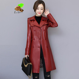7a201e73649 2019 New Women Sheepskin Genuine Sheep Leather Jackets Lady Spring Vintage  Turn-down Collar Double Breasted Plus Size Coats