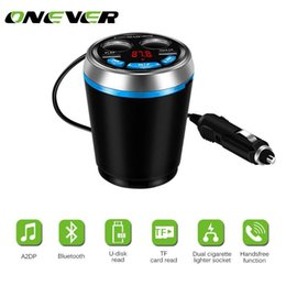 mp3 cup holder Canada - Onever Bluetooth FM Transmitter Car Music MP3 Player Hands Free Car Kit Cup Holder Cigarette Lighter USB Power Adapter Splitter