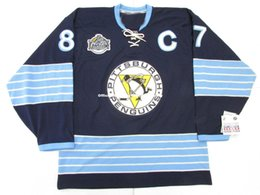 Crosby winter jersey online shopping - Cheap custom SIDNEY CROSBY PITTSBURGH PENGUINS WINTER CLASSIC JERSEY stitch add any number any name Mens Hockey Jersey GOALIE CUT XL