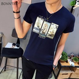 $enCountryForm.capitalKeyWord Australia - T-shirts Men V-Neck Printed Harajuku Short Sleeve V-Neck Daily High Quality T-shirt Mens Ulzzang Soft Clothing Chic Fashion New