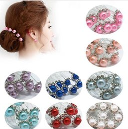 Flower Girl Rhinestone Hair Clips Australia - 10Pcs Set Bride Hair Pins Beads Rhinestone Wedding Bridal Flower Hairpins Clip Grips Women Ladies Girls Hair Accessories KQS8