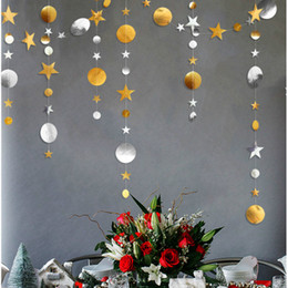 $enCountryForm.capitalKeyWord Australia - 4M Gold Silver Star Paper Garlands Pendant Ornaments Christmas Decorations for Home Christmas Accessories New Year Noel Supplies