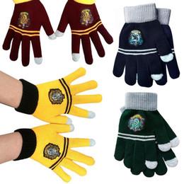 harry potter colleges 2019 - Harry Potter Cosplay College Gloves Gryffindor Slytherin Ravenclaw Hufflepuff Gloves Badge Winter Warm Glove Cartoon Hal