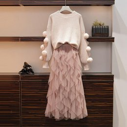 tulle sweater 2020 - Plus Size Winter Clothes Ball Christmas Sweater Layers Ruffles Long Skirt Set Women Two Piece Tulle Skirts Set cheap tul
