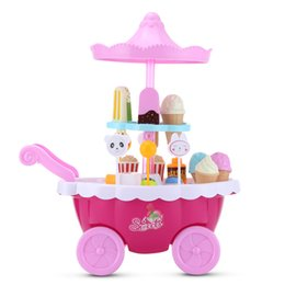 candy kitchen Australia - Household Play Set Candy Ice Cream Cart Kitchen Toys With Flashing Lights and Music Colorful Cookware Pretend Play Set Equipped