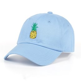TUNICA Pineapple Embroidery Baseball Cap Cotton 100% Hipster Hat Fruit  Pineapple Dad Hat Hip Hop Cotton Snapback Cap hats  17539 a7ec9eb41145