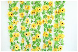 $enCountryForm.capitalKeyWord Australia - Wholesale 1 PCS Sunflower Artificial Silk Fake Flowers Ivy Leaf Garland Plants Home Decor Sun flower chain artificial flower