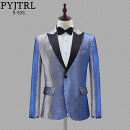 $enCountryForm.capitalKeyWord Australia - Pyjtrl New Mens Change Colour Blue Gold Purple Red Slim Fit Blazer Wedding Groom Prom Party Casual Suit Jacket Singers Costume