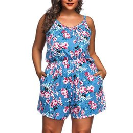 v neck jumpsuits plus size UK - Sleeveless V-Neck Women Rompers Summer Playsuit Plus Size Suspenders Printing Ruched Female Floral Loose Rompers Overalls Short Jumpsuits
