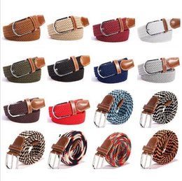 $enCountryForm.capitalKeyWord Australia - Unisex Elastic Stretch Belt Casual Braided Waistband Creative Woven Canvas Pin Buckle Belt Solid Waistband New Matching Accessories LT920