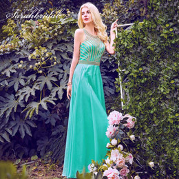 prom dresses beautiful Australia - 2019 Beautiful Aqua Green Prom Dresses with Beading Chiffon Evening Party Gowns Women Gala Dress Cheap In Stock OL411