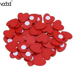 wooden stationery sets UK - heap Stationery Stickers 100pcs set Wall Sticker Mini Wooden Red Love Heart Sponge Stickers DIY Craft Home School Office Stationery Decor...