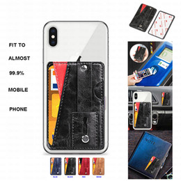 Wholesale Suitable Paste to Almost All Mobile Phone Wallet Card Money Back Case Bulid in Stand with Extensible Foldable Build in Finger Ring