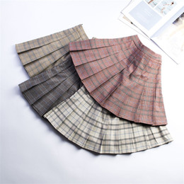 e9eb6e36b 2019 New Spring Plus Size S-3xl Women High Waist Pleated Skirt Japanese School  Plaid Skirt Uniform Student Girl Skirts Miniwz238 Y19050502