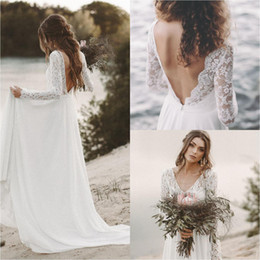 Simple Lace Wedding Dress V Neck NZ - Simple Fall White Top Lace Country Beach Wedding Dresses V Neck Full Sleeve Chiffon Low Back Bohemian Bridal Gowns Slim casual Bride Dresses