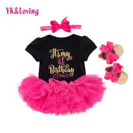 Dress For Babies First Birthday Australia - 1st Birthday Girl Baby Dress Summer 2018 Cotton Black And White Romper Tutu Dresses First Kids Infant For Girls Party Clothes Y19061303