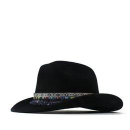 f8a4f68339c43 100% Wool Women Men Wool Tassel Western Cowboy Hat Gentleman Dad Black Outback  Sombrero Hombre Montana Hat 57-59CM