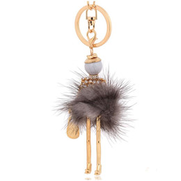 fur animals keychain 2020 - new arrival pompon fur keyrings fluffy fur keychain women bag handbag key chains for cars fashion pom pom key ring disco