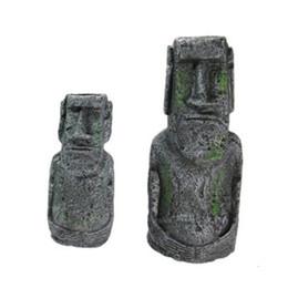 Venta al por mayor de Acuario artificial resina de Isla de Pascua estatua ornamento Submarino Paisaje Craft adornos para la decoración de pecera Accesorios jk2002