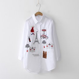FASHION- New White Shirt Bouton Casual Wear Up Turn Col bas à manches longues Chemisier en coton broderie Feminina chaud vente T8d427mMX190827