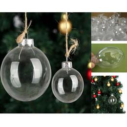 $enCountryForm.capitalKeyWord Australia - DIY Transparent Plastic Ball Clear Christmas Ball Decoration 80mm Round Flat Seamless Silver Cap Tree Hanging Party Ornament for Weddings