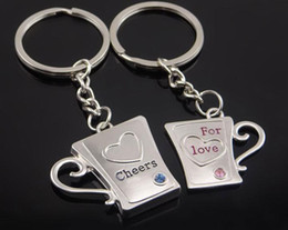 cups keychains Canada - 2018 New Alloy Heart Lovers Keychain Cup Shape Key Chains Wedding Gifts Cheer For Love Keychains with Crystal