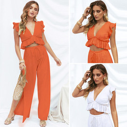Army Two Piece Suit Australia - 2019 summer new style women summer clothes leisure vacation split wide leg solid color sexy suit women clothes two piece sets clothing