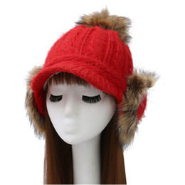 c23e6861052 Pompom Knitted Caps Plus Fluffy Bomber Hats With Flaps Thicken Earflap Big  Hair Ball Ear Cap Gorros Winter Fur Hats For Women