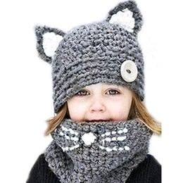 Hand Knit Hats For Girls Australia - Unisex Caps Scarf Set Lovely Cartoon Animal Hats For Children Winter Hat Boy Hand Crochet Kawaii Cat Ears Knitted LIC Cap Girls