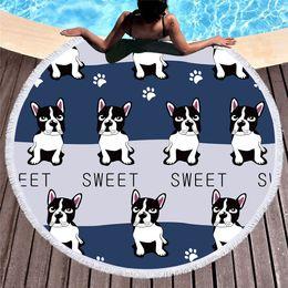 Cartoon Towel Dog Australia - Cute Dog Round Beach Towel For Kids Adults Cartoon Printed Tassel Yoga Mat Large Towel Microfiber Toalla Blanket