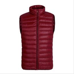 Plus Size Winter Vests Australia - Ultra Light Mens Winter Vest Duck Down Stand Collar Zipper Gilet Sleeveless Vest Waistcoat Mens Vest Waistcoat Plus Size