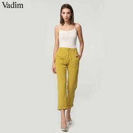 $enCountryForm.capitalKeyWord Australia - Vadim Women Cozy Basic Summer Pants Pockets Elastic Waist Zipper Fly Design Ladies Chic Ankle Length Trousers Pantalones Zc083 MX190716