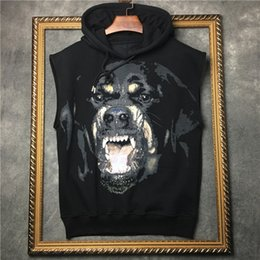 Black vest shirt for men online shopping - spring new fashion tees Rottweiler Dog print tee with hood tank top vest t shirt for men women black color cotton