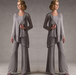 Bridal Suits Australia - Mother Of The Grey Chiffon Bridal Mother Bride Pant Suits With Jacket Women Evening Pant Suits Long Sleeve Evening Dresses SH325