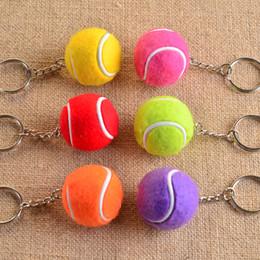 Zircon Glass Gifts Australia - Cute Red Yellow Sports Ball Keychains Bag Pendant Mini Tennis Balls Key Ring Boys Girls Key Chains Travel Souvenirs Gift
