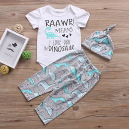 dinosaur baby romper NZ - Infant Toddle Baby Boys Girls Clothes 2019 Summer Letter RAAWR Tops Romper DINOSAUR Pants Hat 3Pcs Baby Clothing set