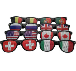 wholesale party eyewear UK - 20Pcs World Cup Football Festival Fans Sunglasses For National Flag Bar Party Fans Sun Glasses Athletic & Outdoor Eyewear Free Shipping