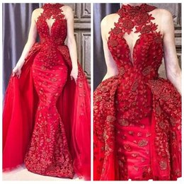 $enCountryForm.capitalKeyWord Australia - 2019 Red Mermaid Formal Prom Dresses High Neck Lace Appliques Crystal Beaded Pageant Dress Detachable Sweep Train Overskirts Evening Gowns