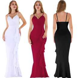 Invisible Zipper Dress UK - Dresses fashion sexy strapless halter evening dress side invisible zipper wooden ear thickening dress long skirt party dressing clothes lady
