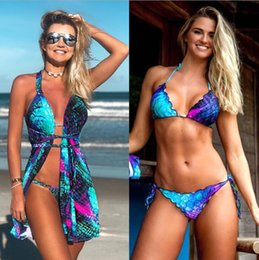 $enCountryForm.capitalKeyWord Australia - Blue gradient fish scale hanging neck with mermaid print mini dress bikini three-piece beach wind sexy suit cropped shirt women's clothing
