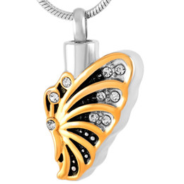 Wholesale butterfly wings for halloween online – ideas Stainless Steel Half Butterfly Wing Memorial Pendant Necklace for Ashes Cremation for Ashes Urns with Ashes Jewelry IJD9215