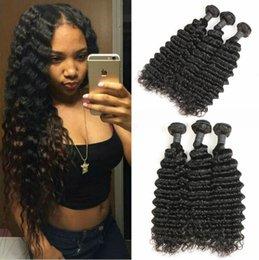 Discount wet curly human hair - Indian Deep Wave 4 Bundles 400g Unprocessed Vietnam Deep Curly Hair Bundles Wet and Wavy Human Hair Natural Black