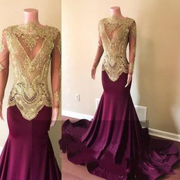 african classic dresses NZ - 2020 African Dark Burgundy Prom Dresses Long Sleeve Gold Lace Mermaid Satin Applique Beaded High Neck Backless See Through Party Gowns