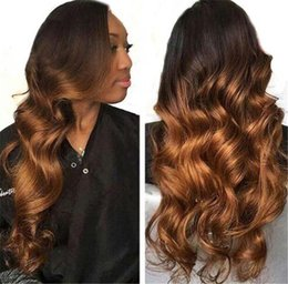 blonde human hair wigs short wavy 2019 - Colored Wig Wavy 1BT30 Honey Blonde Ombre Brazilian Remy 130% Density Preplucked Lace Front Human Hair Wigs cheap blonde