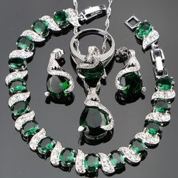Ring Box Green Australia - Green Zircon Bridal Silver 925 Jewelry Sets Women Charms Bracelets Pendant&Necklace Rings Earrings With Stones Set Gift Box