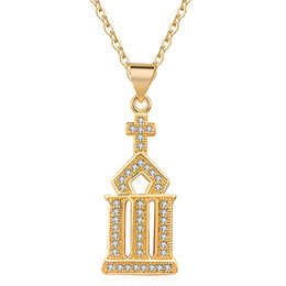 $enCountryForm.capitalKeyWord Australia - House Pendant Necklace Men Necklaces Iced Out Cubic Zirconia Chains Copper Material Color Punk Gold Silver Hip Hop Charms Jewelry