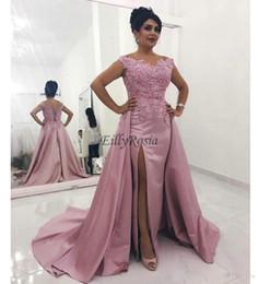 Arabian Plus Size Dresses Australia - Dusty Rose Evening Dress Detachable Train Sheath Side Split Satin Appliques Capped Sleeve Elegant Evening Gowns Arabian Women Plus Size