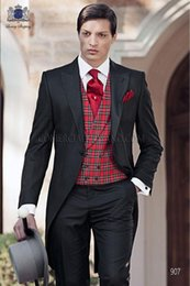 morning suit slim fit UK - 2020 Black Red Plaid Vest Tailcoat Morning Slim Fit Party Suits Men Wedding Dress For Men Custom Made Tuxedo Groom Suit Blazer