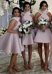 Lavender Blush Wedding Dress Australia - 2019 Blush Pink Short Mini Style Bridesmaid Dresses Back Cover Bow Halter Neck Satin Maid Of Honor Wedding Guest Gown Custom Hot Sale