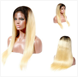 Glueless Wig Braids For Australia - Colored 1B 613 Human Hair Lace Front Wigs Brazilian Straight Braided Wig For Black Women Pre Plucked Blonde Ombre Glueless Full Lace Wig
